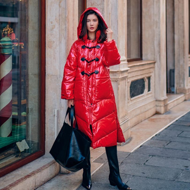 Brand women thicken   down     coats   2019 winter new fashion hooded solid red long jacket female warm White duck   down   outerwear gx1641