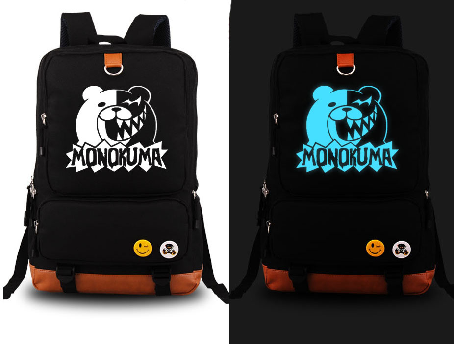 New DANGANRONPA Cosplay Backpack Fashion Anime Monokuma Canvas Student Luminous Schoolbag Unisex Travel Bags hzpk desktop stainless steel cover automatic electromagnetic foil sealing machine continuous induction sealer machine 20 80mm