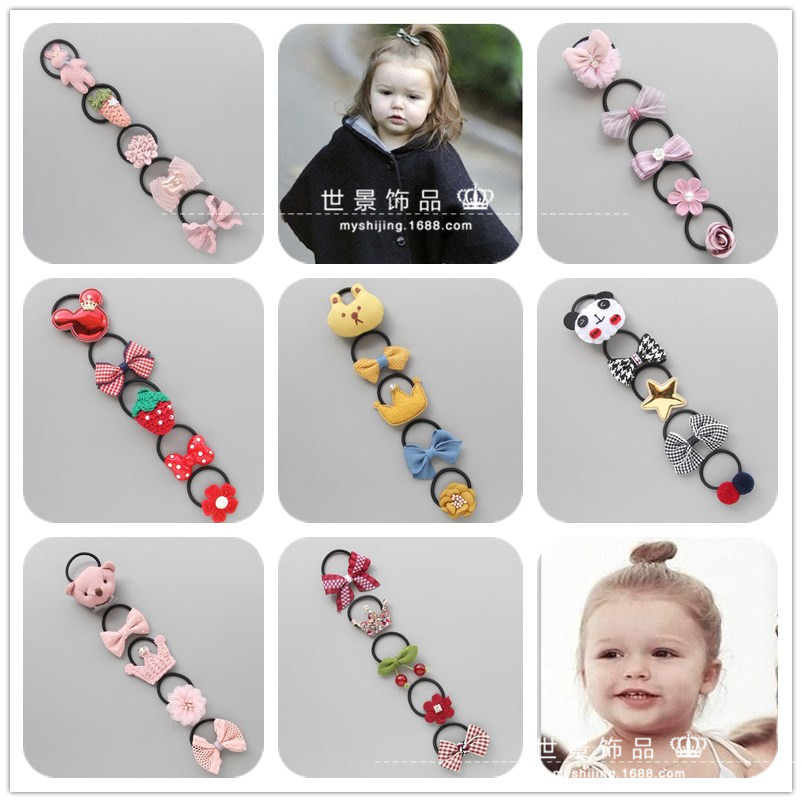 5pcs Little Girls Dimensional Cartoon Elastic Hair Band Sets Hair Accessories Suit For Kids Handmade Hair Tie Rubber Band in Hair Accessories from Mother Kids
