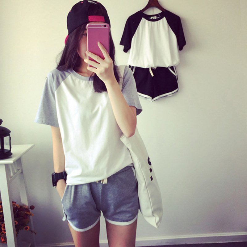 2 Pcs/Sets Casual Loose Sport Set Tracksuit Summer Short Sleeve T-shirt For Women Shorts Suits