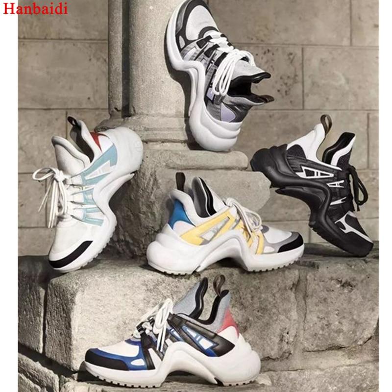 Hanbaidi Marque 2018 à Lacets Baskets Femme Réel En Cuir Maille Femmes Casual Chaussures Mixde Couleurs Plates-Formes Chaussures Archlight Sneakers