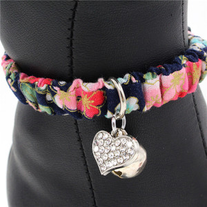 Floral and Plaid Fabric Small Collar for Cats Small Dogs with Bell and Rhinestones Pendant