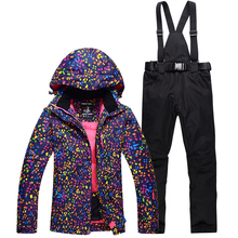 Cheap Ski Suit Set Women Snowboarding Clothing Girl Snow costume Outdoor Sports Waterproof Thick Warm Snow jackets+pants Skiing