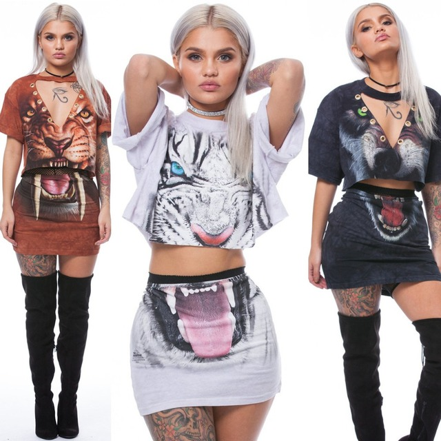 0f921ca3285bc ANIMAl print women sexy V-neck short sleeve crop top mini skirt tiger  leopard wolf 3 type selectable two pieces sets QM-TE3142