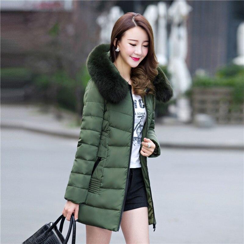 Hiver Mode Fourrure Femmes Qualité Grand Chaud Black Taille Marque Outwear Manteau Zipper Longue Mince Manteaux Coton Capuchon green red 2018 Parka La De Plus Veste Nouveau p8q6dw8