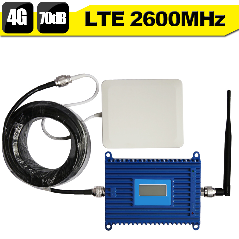 4g LTE 2600 Bande 7 Téléphone Portable Répéteur de Signal 70dB 4g LTE 2600 mhz Mobile Téléphone Cellulaire Signal Booster amplificateur 4g Antenne Ensemble