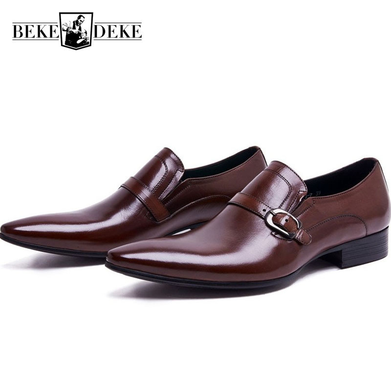 Fashion Genuine Leather Mens Dress Shoes Formal Business Male Shoes Classic Slip On Pointed Toe Block