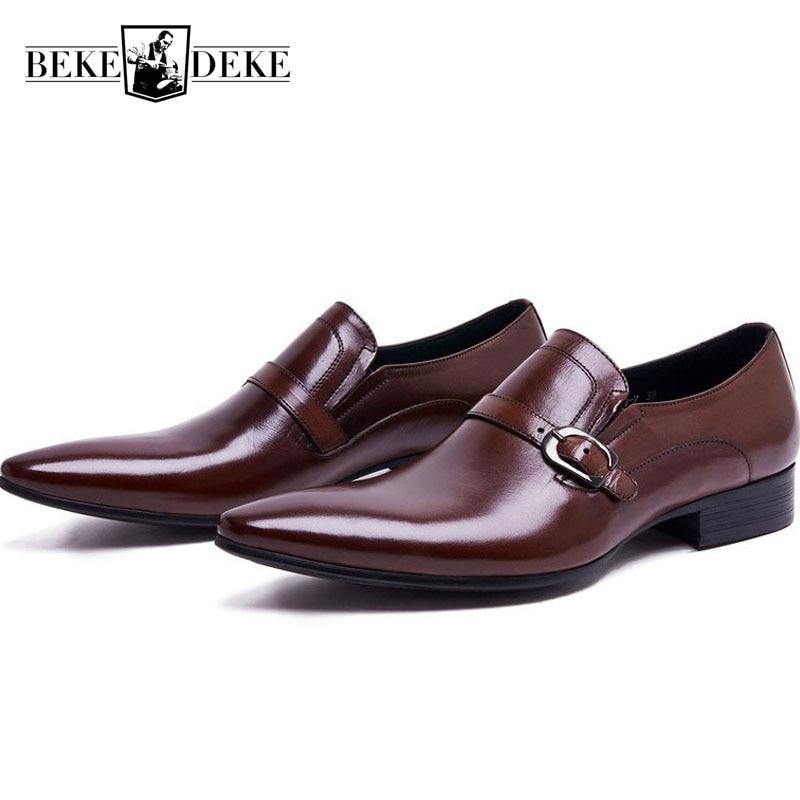 Mode en cuir véritable hommes robe chaussures formelles affaires hommes chaussures classique sans lacet bout pointu bloc talon bas chaussures de fête-in Chaussures d'affaires from Chaussures    1