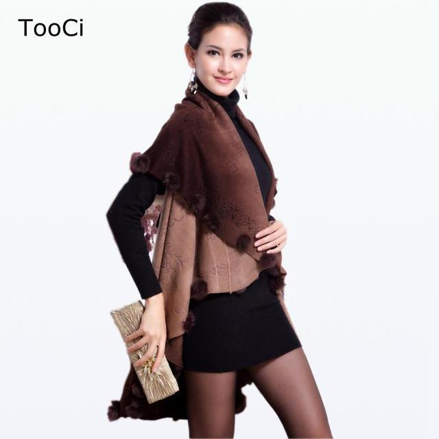 2015 Nova Outono Inverno Poncho De Lã de Coelho Casaco De Pele Das Mulheres Plus Size Casaco de Malha Cardigan Mulheres Camisola Floral