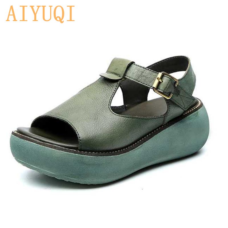 AIYUQI Gladiator sandals women platform 2020 new sandals women genuine leather 100% natural retro casual wedge summer footwear title=