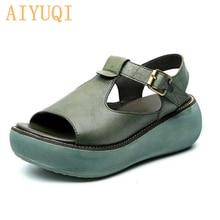 AIYUQI Gladiator sandals women platform 2019 new genuine leather 100% natural retro casual wedge summer footwear