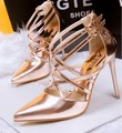 European station high heels female summer fine with shallow mouth pointed shoes sexy hollow crossed straps Roman sandals