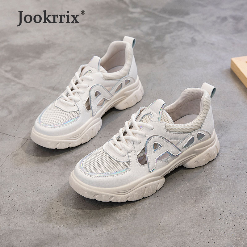 Jookrrix 2019 Summer Brand Increased Chunky Sneakers Fashion Genuine Leather Platform Shoes Women Comfortable Wedges Thick SoleJookrrix 2019 Summer Brand Increased Chunky Sneakers Fashion Genuine Leather Platform Shoes Women Comfortable Wedges Thick Sole