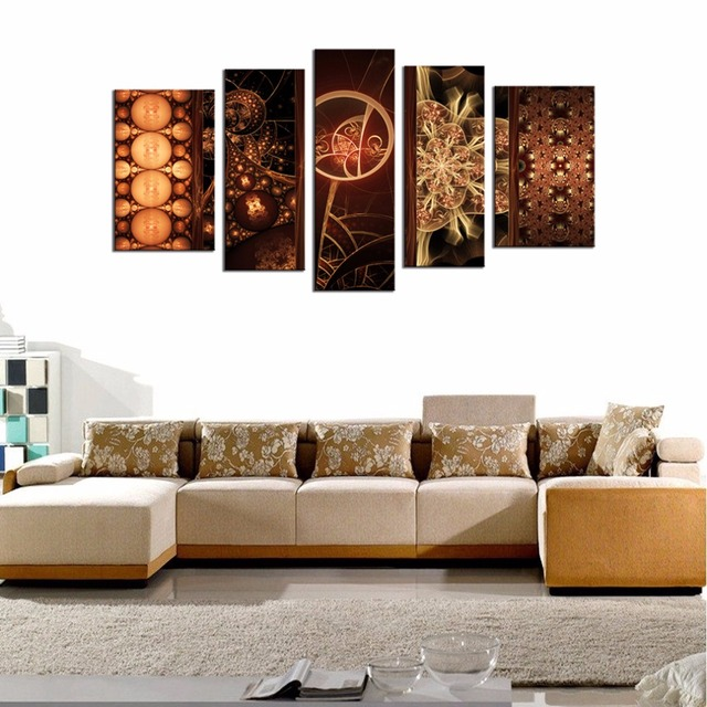 Canvas prints wall art painting 5 pieces dream colored glaze fower bright and rich color picture