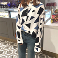 Fashion Women Shirts 6343 - Geometric Pattern Color Blouse Shirt White Black 9393