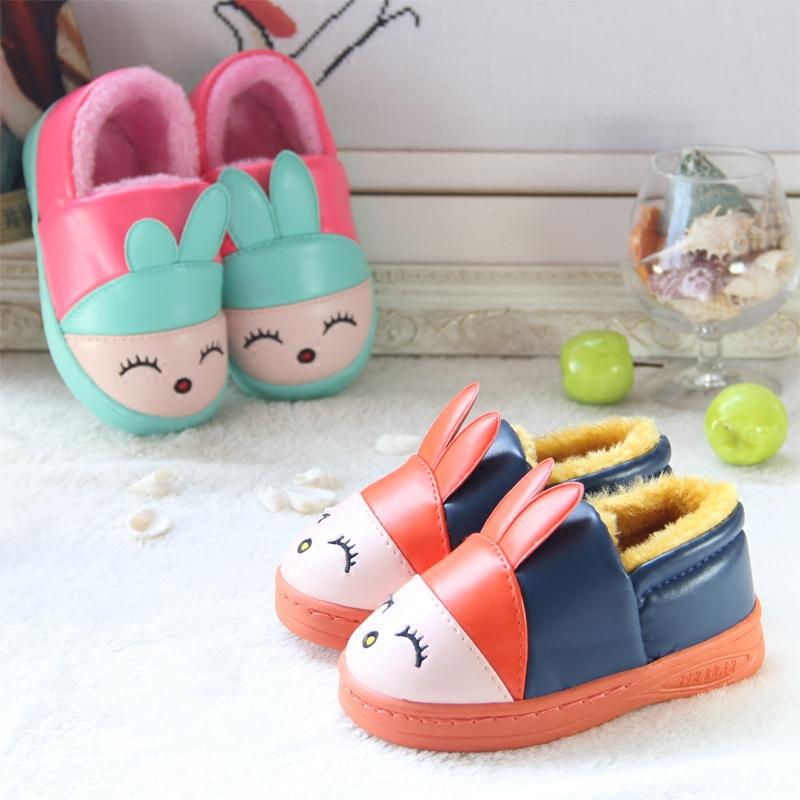 New Winter Children Shoes Cute Cartoon Warm Plush Boys Girls Slippers Warterproof Pu Leather Slip Resistant
