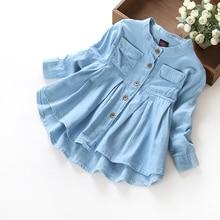 Autum Fashion Baby Clothing Girls Jeans Shirts Children Long Sleeve Denim Girl Jean Blouses
