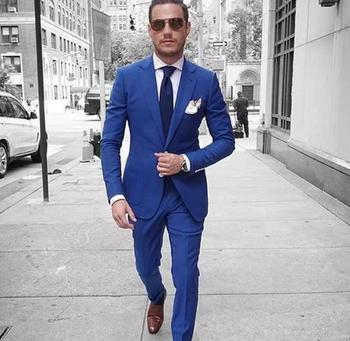Spring Custom Made Royal Blue Men Suits Best Man Groom Prom Casual Tailored Tuxedo Slim Fit Terno Blazer Masculino 2 Piece Jack