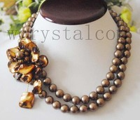 Charming Round Coffee Shell Pearl 10mm Brown Flower Necklace Carved Clasp