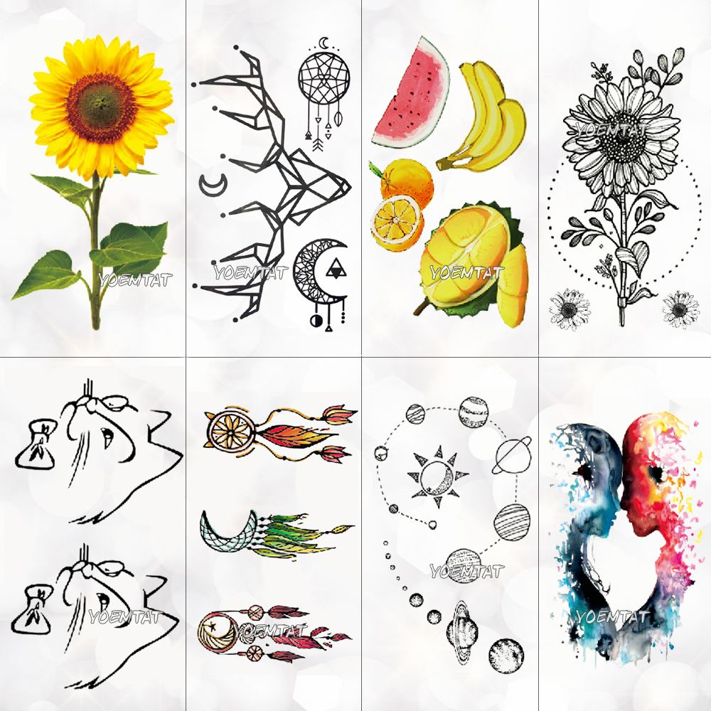 Color Fruit Sunflower Temporary Tattoo Sticker Women Cute Lines Cat Pattern Body Art New Design Fake Men Tattoos
