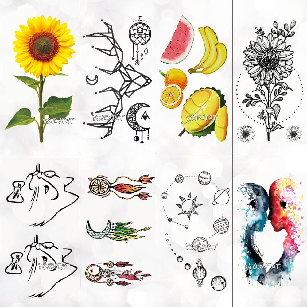 Color Fruit Sunflower Temporary Tattoo Sticker Women Cute Lines Cat Pattern Body Art New Design Fake Men Tattoos
