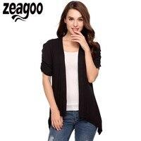 Zeagoo Women Causal Blouses Ruched Puff Short Sleeve Shark Bite Hem Cardigan 2017 Summer Fashion Feminino