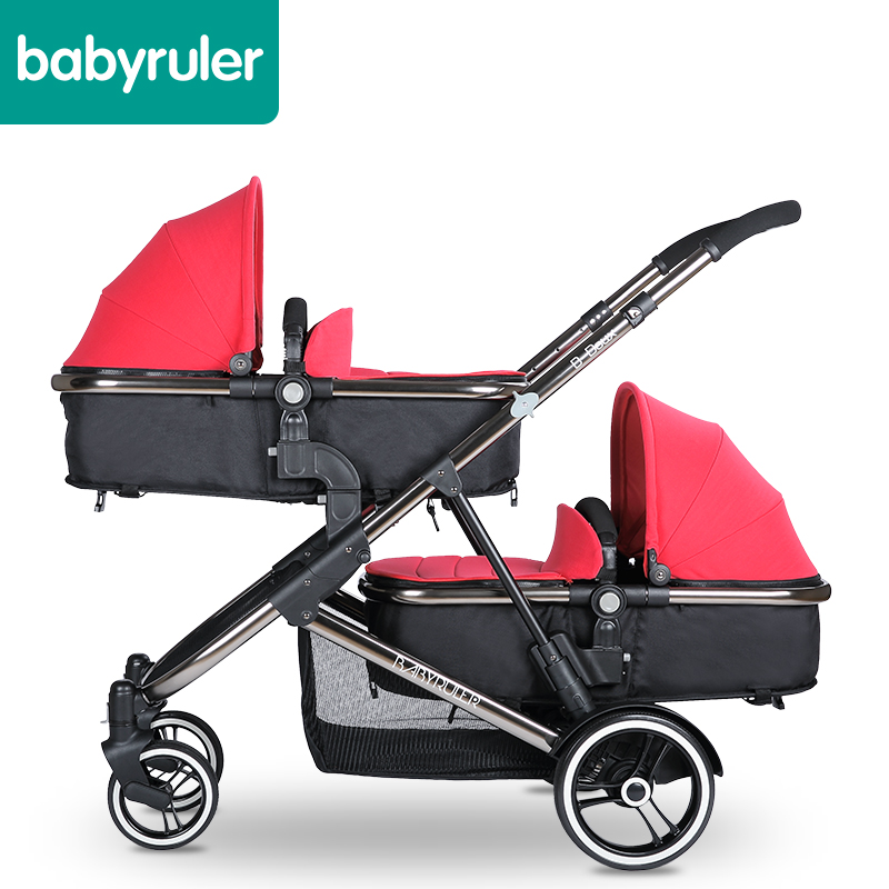 Babyruler twins baby stroller double baby child stroller baby car folding brand baby stroller twins stroller double stroller super twins stroller carrier pram buggy leader handcart ems shipping