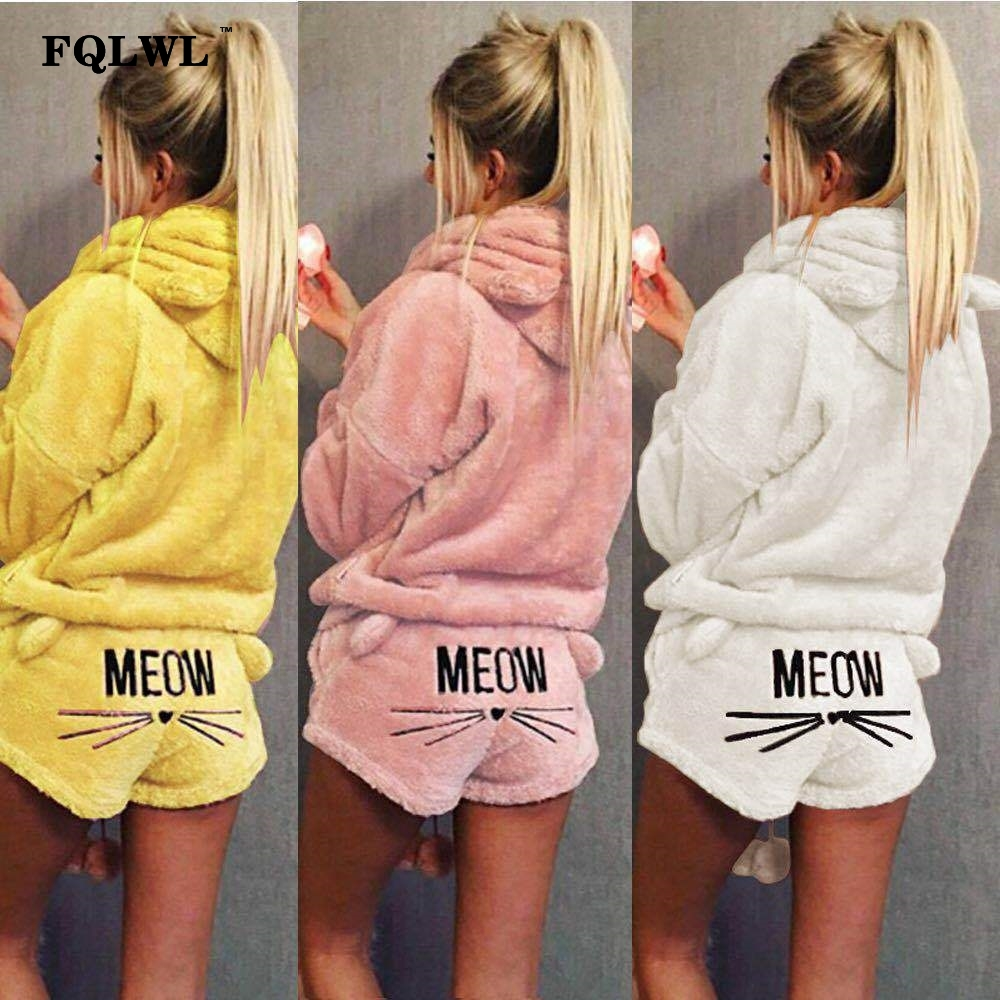 FQLWL Two Piece Set Pyjamas Women Sleepwear Flannel Kigurumi Cat Warm Pajamas Female Winter Pajamas For Women Pijama Home Suit