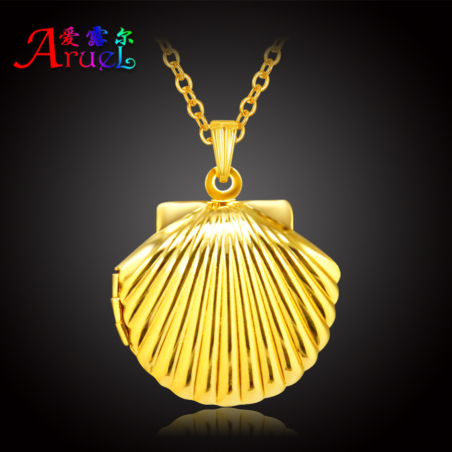 ARUEL fashion gold color classic photo simple shell locket ps