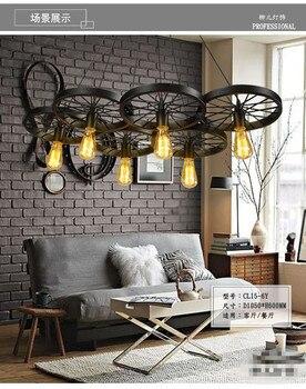 American style pendant light bedroom loft 6 tieyi vintage wheel pendant light