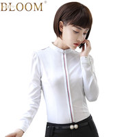 BTF BLOOM New Fashion Clothes Ol Women Long Sleeve Slim Shirt White Light Blue Blouse