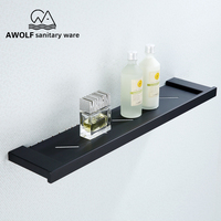 Stainless Steel Bathroom Shelves Wall Mounted Cosmetic Shower Storage Rack Black Color Kitchen rack Bathroom Accessories AZ5110