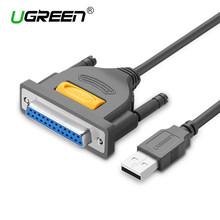 Ugreen USB untuk DB25 Kabel Printer Paralel Male Ke Female Port LPT DB25 Converter Cetak Kabel 25 Pin 25Pin LPT USB untuk DB25(China)