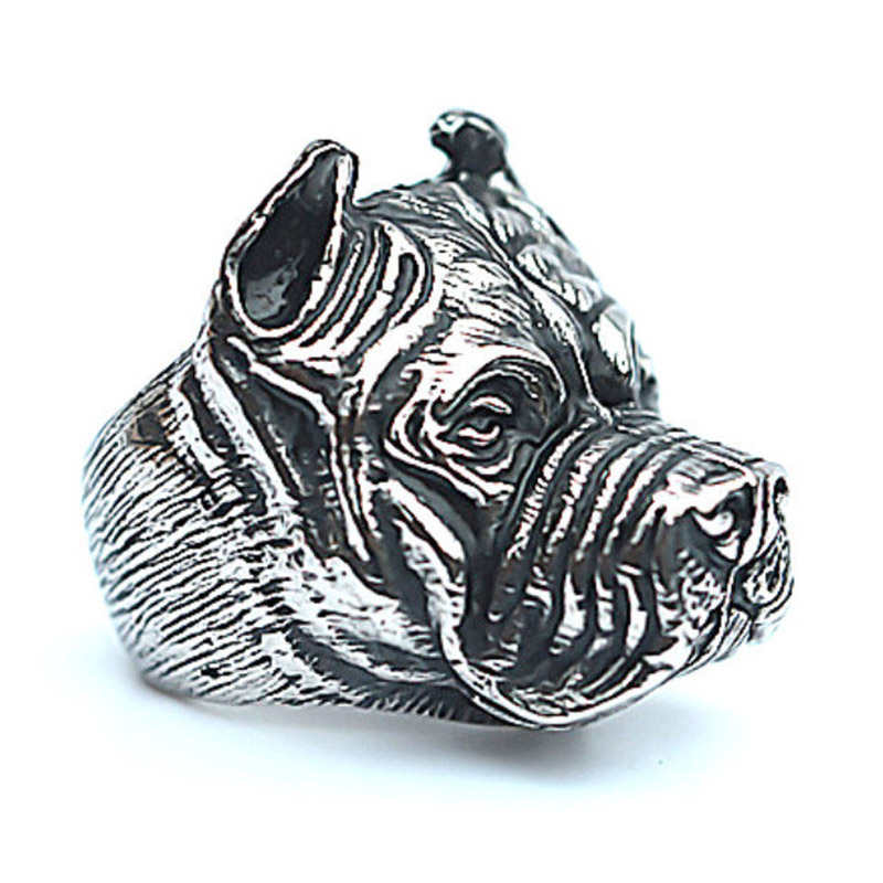 3 Farben Haustier Hund Bulldog Ringe 316l Edelstahl Punk Ring Mann Jungen Big Hip Hop Rock Gold Ring Hohe Qualität Partei Schmuck Ausgezeichnet Im Kisseneffekt