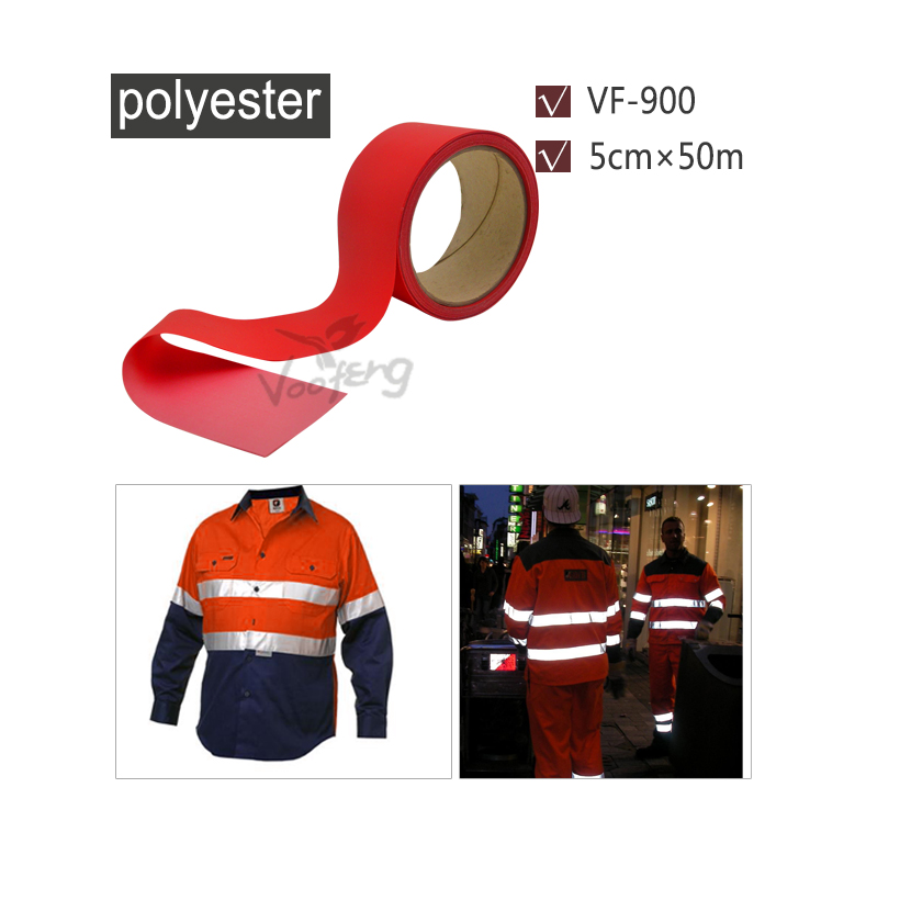 5cmx50m Red Reflective Polyester Materials Sew on Garments for High Visibility Free shipping