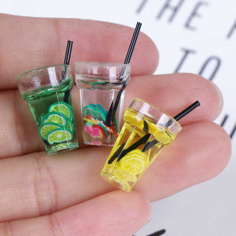 1/12 Dollhouse Miniature Food Mini Resin Fruit Bottle Simulation Drinks Model Toys Fruit Drink Play Dollhouse Dolls Accessories
