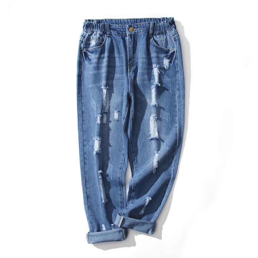 aff117e909 can ift 90kg plus size jeans female fashion brand 100% cotton hand made  scratched hole was thin elastic waist wide leg wq1073