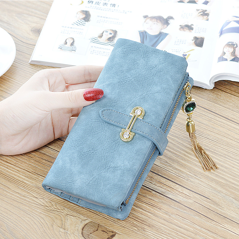 New Arrival Dull Polish Wallet  Lady Multifunctional  Purse Long Style Zipper Closure Tassels Pendant Huge Capacity Fashion Hand new arrival button wallet lady multifunctional purse long style zipper hasp oil wax cowhide closure huge capacity fashion han