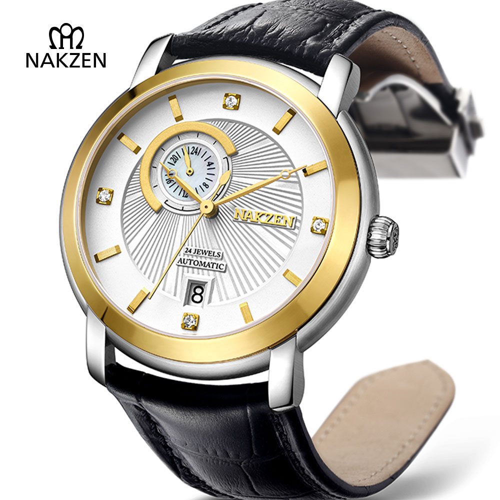 NAKZEN Mens Fashion Casual Automatic Watch Man Sport Mechanical Sapphire Clock Sport Waterproof 50M Casual Leather Gents Watches nakzen men quality mechanical watch gents full steel business dress clock male fashion saphhire automatic waterproof 50m watches