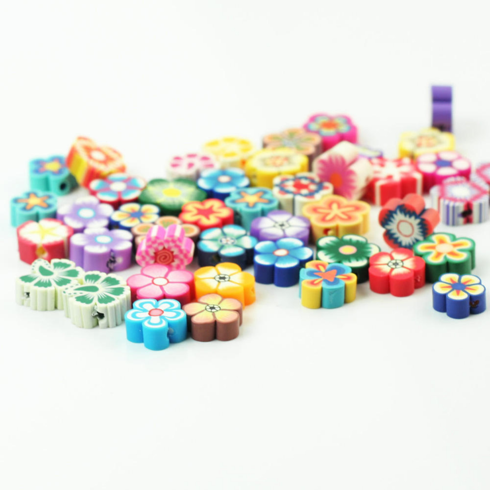 100pcs Fashion Lovely Charming Mixed color Fimo Polymer Clay Flower Loose Spacer Beads 7x7 9x9 10x10mm DIY Kid Jewelry Finding in Beads from Jewelry Accessories