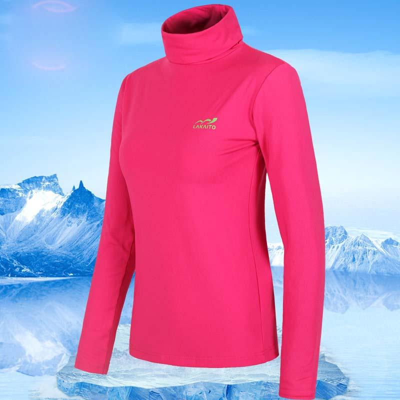 2019 Winter Women Quick dry Breathable Fleece T-shirt Windproof Uv protection Keep Warm T-shirt Skiing Climbing Cycling T-shirt