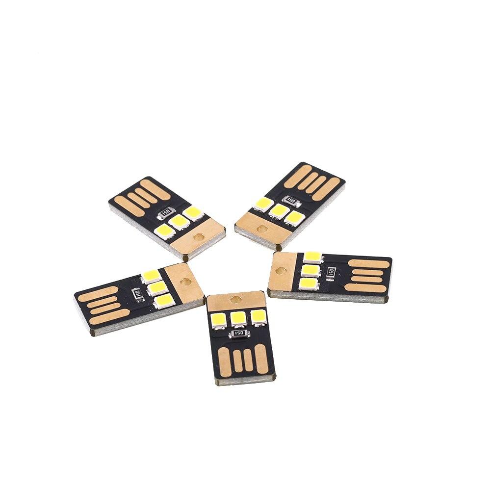 Abajur 5Pcs Mini USB 0.6W 2835 SMD 3 LED Bulbs Night Light White/Warm White Lamp Bright Lumiparty Lumiparty