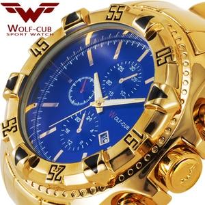 Image 3 - יפן תנועת זהב שעונים גברים של Relogios Subaqua Masculino שעוני יד יוקרה מותג קוורץ שעון (צבע: זהב, כחול) זאב קאב