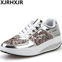 XJRHXJR Cheap! Cool Gold Sequined Spring/Autumn Women Casual Shoes Sport Fashion Walking Shoes Swing Wedges Shoes Woman FreeShip