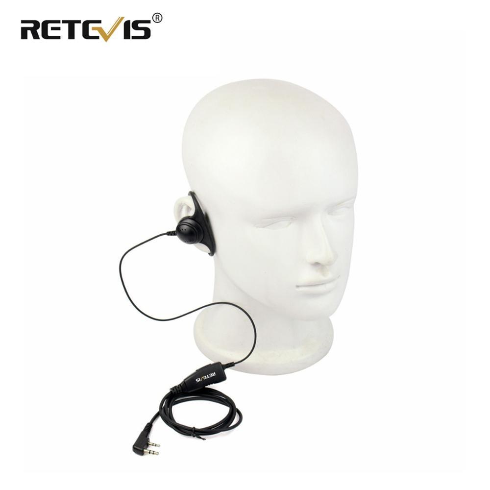 2 Pin Ear-Hook Bar Earpiece Mic PTT Headset for Kenwood BAOFENG Retevis TYT New