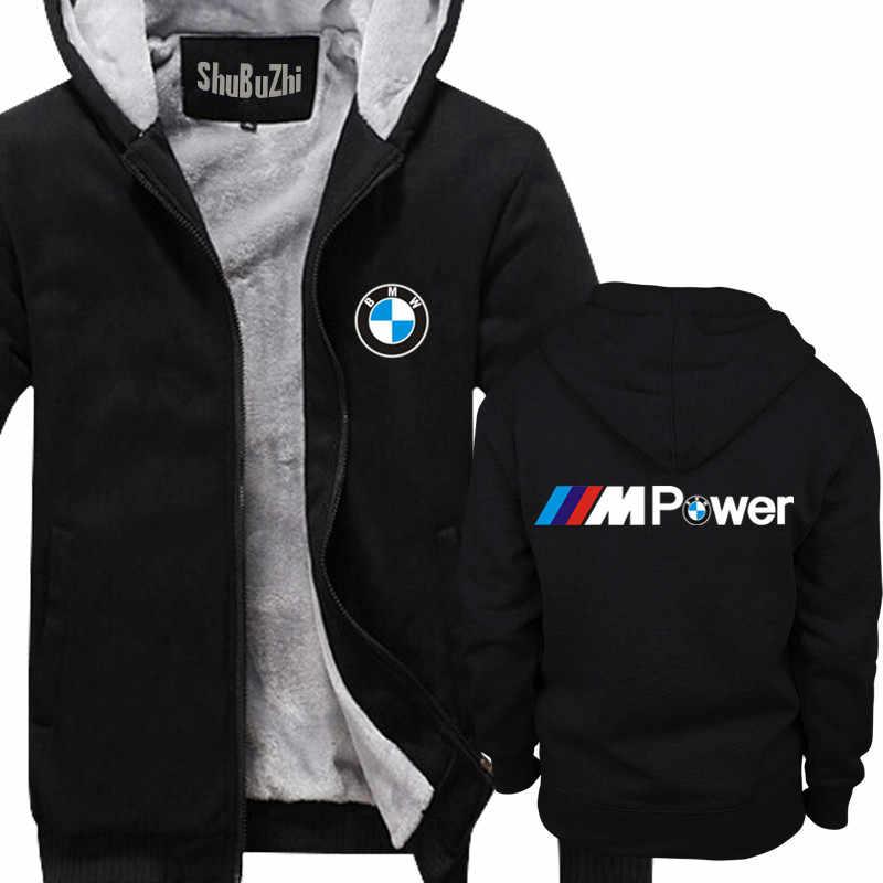 398375d05 winter men thick hoodies male fleece coat E30 E36 E46 E38 E39 M Power Logo  Moto Auto shubuzhi man super warm jacket euro size