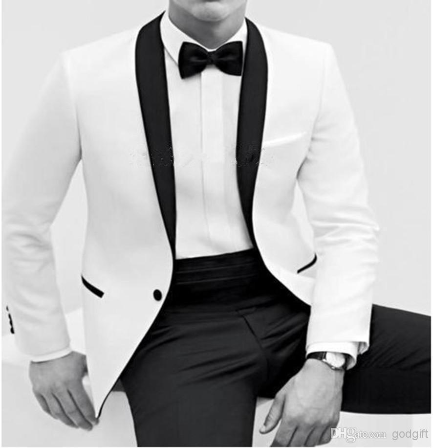 Tuxedos blanc hommes robe couleur butyle processus col châle blanc marié costumes/classique marié