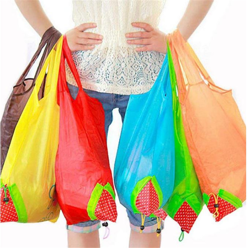 Large Nylon Reusable Folding Bags Strawberry Eco Grocery Bag Retail Cute Travel Shopping Tote Bag Womens Shopping Bags New