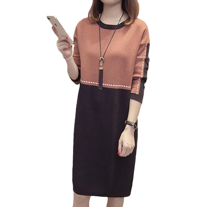 Femmes tricot robe 2018 nouveau hiver chandail grande taille Colorblock pull femmes lâche coréen mode pull hiver robes XY761