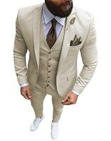Men 3 Pieces Suits Slim Fit Casual Business Groomsmen Champagne Lapel Grey Tuxedos for Formal Wedding(Blazer+Pants+Vest)